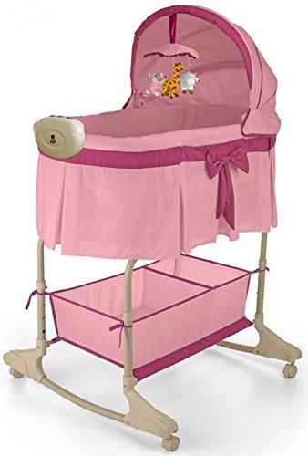Best For Kids- Berceau- 4 en 1 avec lit pour bebe , avec mélodie, vibrations, lumière, veilleuse et balançoire en deux couleurs au choix. . PRIMA (Rose - Facile)