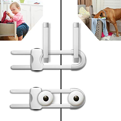 6PCS Sliding Cabinet Locks UShaped Child Safety Locks Multifunctional Cabinet Handle Lock for Drawers refrigerators and Closets