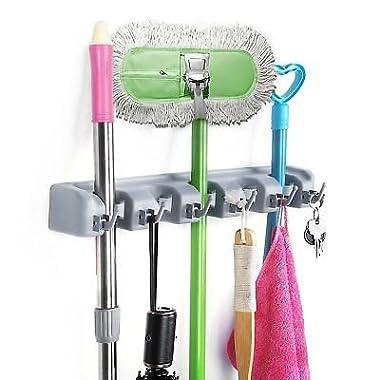HOMEIDEAS Broom Mop Holder Wall Mounted Garden Tool Rack Garage Storage & Organizer 5 Position 6 Hooks