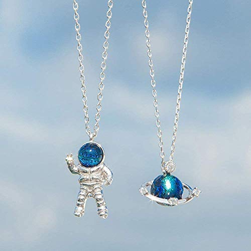 Hengyuan 2 collares para parejas de planeta/astronauta Hip Hop, cadena creativa para clavículas, collares de cadena larga para hombres y mujeres.