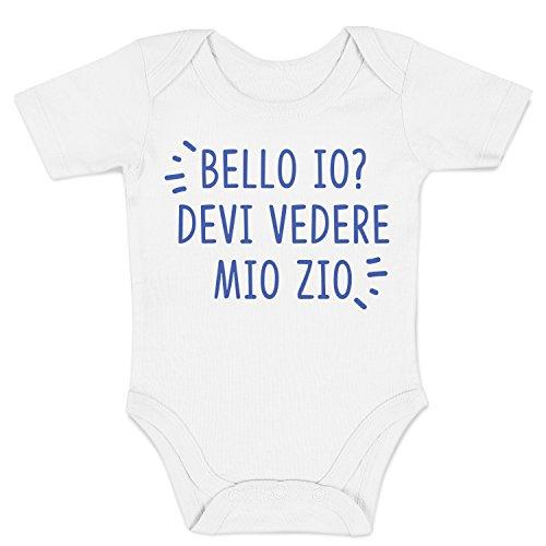 LaMAGLIERIA Baby Body Bello io? Devi Vedere Lo Zio - Body Divertente Neonato, 0-3 Mesi, Bianco