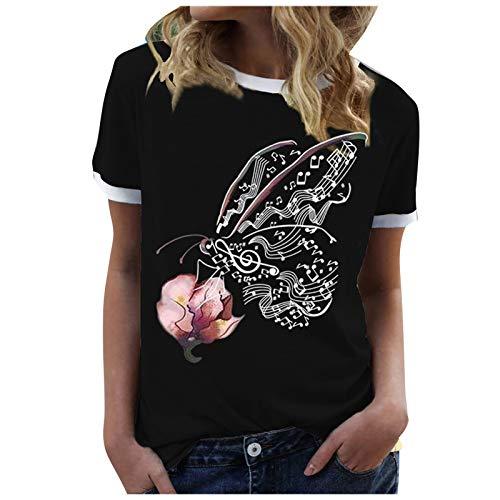 YANFANG Camiseta De Manga Corta,Tops Sueltos Larga Casuales, con Estampado Mariposa Y Cuello En V Cremallera para Mujer,Azul,Naranja,Rojo,S/M/L/XL/XXL