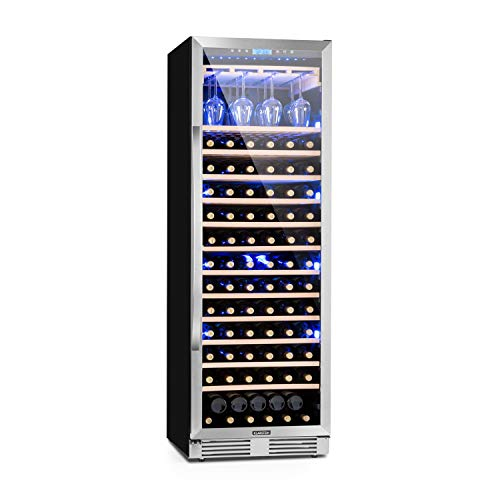 KLARSTEIN Vinovilla Grande - Large Capacity Wine Refrigerator, Beverage Fridge, Volume: 425 L, 165 Bottles, 13 Shelves, Touch Control, LED Selectable 3 Colours, Adjustable Temperature - Antrachite