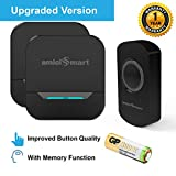 amiciSmart Wireless Doorbell Long Range Waterproof Push Button and Plug-in Receiver, LED Flash