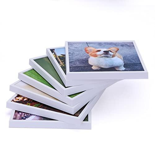 Marcos de Fotos 20 x 20 cm, Conjunto de 4 Portafotos en blanco o negro para pared. Sin clavos. Adhesivo reposicionable. Decoración de Pared. DIY Collage. Regalo original. (BLANCO)