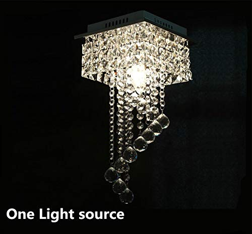 Moderne K9 kristallen plafondverlichting roestvrij staal LED-lampen aan/twee LED plafondlamp E14 LED LED Led-verlichting plafond lampen 20 (One Light Sources)