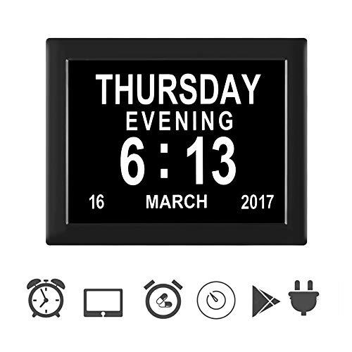 """Keyzone 8"""" Digital Tag Uhr Wecker Kalender Sehschwachen Gelesen Senioren Groß Schrift Tischuhr Elektronischer Wanduhr"""