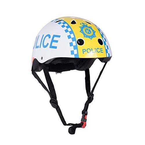 kiddimoto 2kmh024s - Design Sport Helm Bobby, Police Man S für Kopfumfang 48-53 cm, 2-5 Jahre