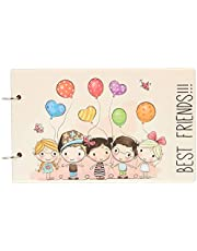 Amazon Brand - Solimo DIY 2 in 1 Printed Photo Album and Scrapbook, 25 x 16 cm, Best Friends