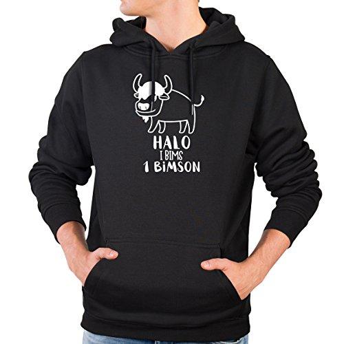 JUNIWORDS Herren Hoody - Halo i bims 1 Bimson - Wähle Größe & Farbe - Größe: L - Farbe: Schwarz