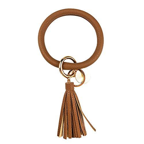Leather Bracelet Key Ring Bangle Keyring, Tassel Ring Circle Key Ring Keychain Wristlet for Women Girls – Free Your Hands (Chocolate)