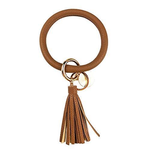 Leather Bracelet Key Ring Bangle Keyring, Tassel Ring Circle Key Ring Keychain Wristlet for Women Girls – Free Your Hands (Chocolate)
