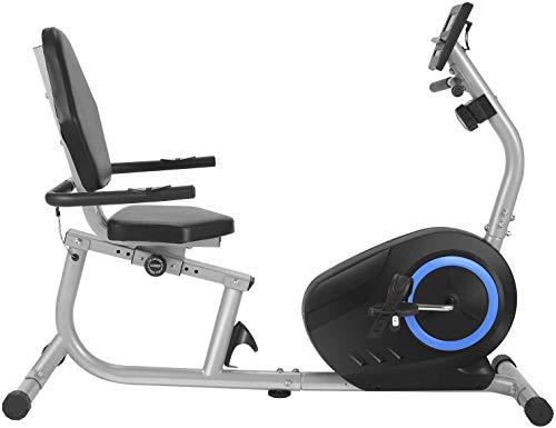 ANCHEER Liegerad, 8-stufiges Fitnessrad mit Magnetwiderstand , Indoor-Fahrrad mit Tablet-Halter/Pulssensoren, maximales Gewicht 240 lbs(Silver)