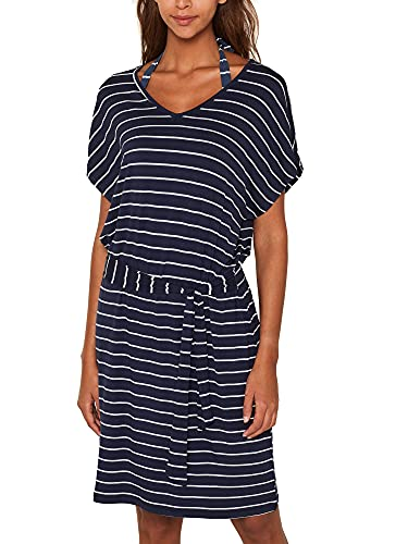 ESPRIT Damen Port Beach Acc s.Dress Strandkleid, Blau (Navy 2 401), 40 (Herstellergröße: L)