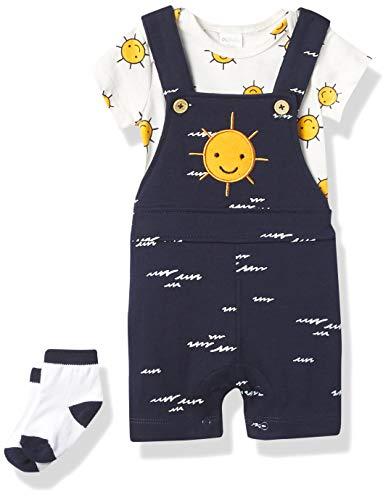 Petit Lem Boys' Baby 3Pc Set: S/S Diaper Shirt, Overalls + Socks Knit, 604 Navy, 12M
