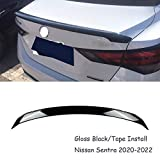 MUTUSAISI Gloss Black Rear Lip Spoiler Wing Factory Style Fit for Compatible with Nissan Sentra 2020-2022