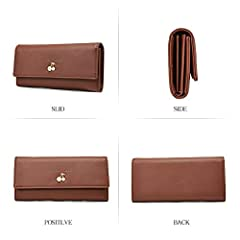 Wallets for Women Leather Ladies Purse Trifold Clutch Long Credit Card Holders Organizer Brown #5