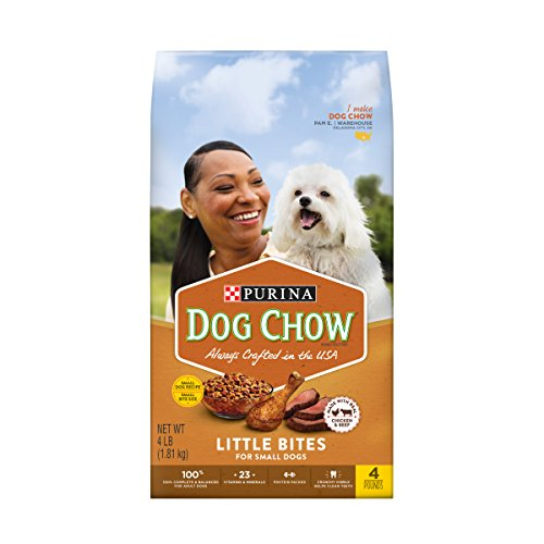 Purina Dog Chow Small Breed Dry Dog Food, Little Bites With Real Chicken & Beef - 4 lb (Pack of 4)