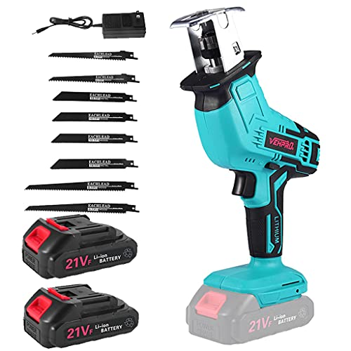 Cordless Reciprocating Saw,One-Handed Reciprocating Saw Battery Powered,21V 1.5A Cordless Battery Powered Saw, Ultra-Light Electric Saw for Wood/Metal/PVC Pipe Cutting,Tree Pruning (Blue)