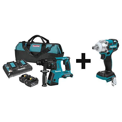 Makita XRH05PT 18V X2 LXT Lithium-Ion (36V) Cordless 1' Rotary Hammer Kit (5.0Ah) with XWT11Z 18V LXT Brushless 3-Speed 1/2' Impact Wrench