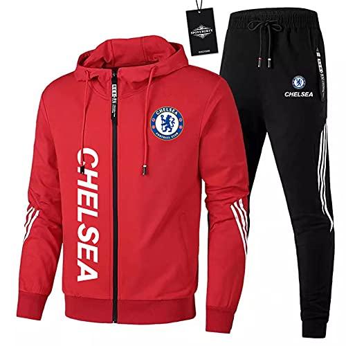 JesUsAvila de Los Hombres Chandal Conjunto Trotar Traje Che.lsea Hooded Zipper Chaqueta + Pantalones Deporte Sudadera Suéter Joggers /  Rojo/XL