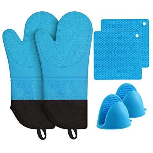 MTZRFLL Silicone Oven Mitts Set, Extra Long Non-Slip Heat Resistant Oven Gloves Come with 2 Cooking Pinch Mitts & 2 Pot Holders, Prefect for Grilling, Cooking, Baking (Blue)