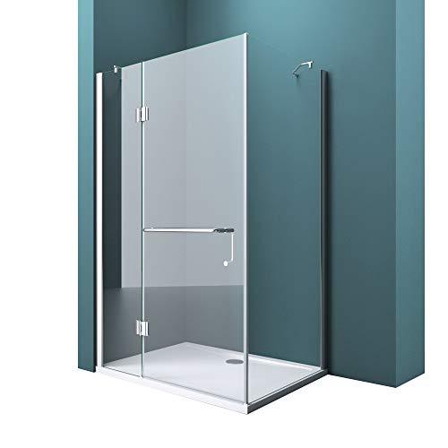 Duschtrennwand 90x110 cm ESG mit Lotus-Effekt & schmutzabweisender NANO Echtglas-Dusche R04k