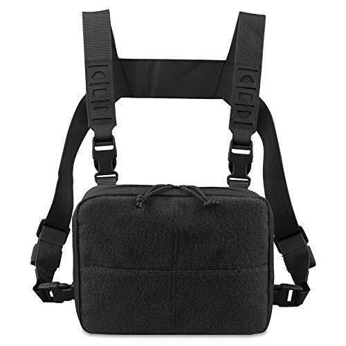 AMYIPO Tactical Combat Chest Pack Molle Vest Bags Front Admin Pouch Equipment Multi-Purpose EDC Utility Recon Kit Bag Utility Pouches Modular Attachment Military Multi-Purpose Daypack (Black)