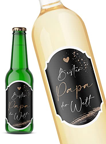 JoliCoon Bester Papa der Welt - Flaschenetikett - 8,5x12cm - Vatertagsgeschenk - Papa Geschenk