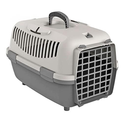 Acan Transportín para Perros, Gatos portátil y Transpirable 48 x 32 x 32 cm, Porta Mascotas de plástico Gris Desmontable con asa, máximo 6 kg, Transporte de Animales, Viajes