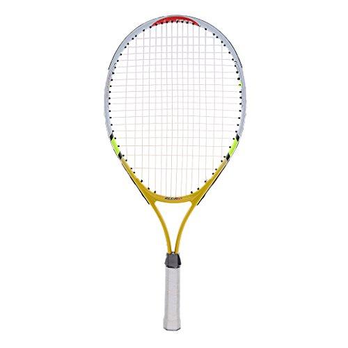 SM SunniMix Racchetta da Tennis con Corde Junior da 23 Pollici con Copertura per Bambini, Ragazzi, Bambini - Giallo