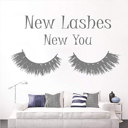 Ssiyun Cils Extension Maquillage Citation Sticker Chambre Nouveaux Cils Nouveau Vous Mascara Decal Beauté Salon Décor Cosmétiques Wall Art 42 X 75 Cm