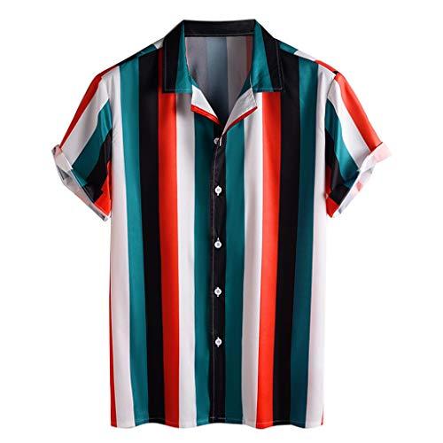 D-Rings Camisa de hombre de manga corta Hawaii multicolor con rayas verticales impresas, aspecto de lino, holgada, informal, para verano, vacaciones, transpirable, para la playa, rojo, M