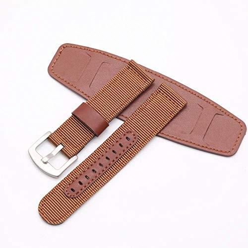 Correa Reloj Reloj de relojero Steelleather Strap 18mm 20mm 22 mm 24mm reloj accesorios hombres mujer mujer alta calidad Correa De Repuesto (Band Color : Brown, Band Width : 22mm)