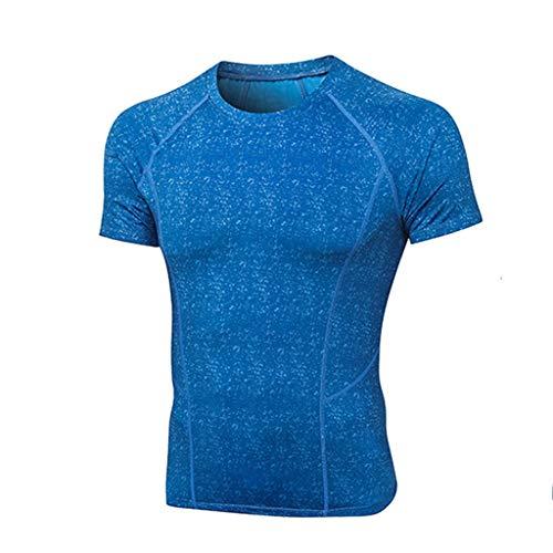 Yowablo Hommes Compression T-Shirt Mouvement Collants Hauts Fitness Jogging Sport Tops Fitness Manches Courtes Respirant à séchage Rapide pour Le Sport (XL,4Bleu)