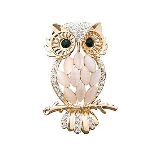 UNIQUEEN Fashion Vintage Champagne Owl Brooch Ladies Brooches Pins for Women with Opal Crystal