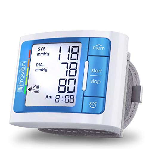 [2020 Model with Backlight] iProven Blood Pressure Cuff Wrist - BP Monitor with Backlight and Large Screen - 60 Reading Memory and Batteries Included (Blue) Blood Monitors Pressure