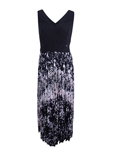 Xscape Women's Illusion Printed Pleated Chiffon Gown (4, Black/White/Pink)