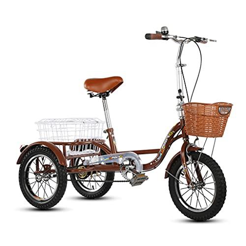 WGYDREAM Triciclo de Adultos Triciclo Adulto Triciclo Adulto con Cesta De Compras Tres Ruedas Bicicleta 20 Pulgadas Trible Bicicleta para Mayores Mujeres Hombres Trikes Trikes Compras(Color:Brown)