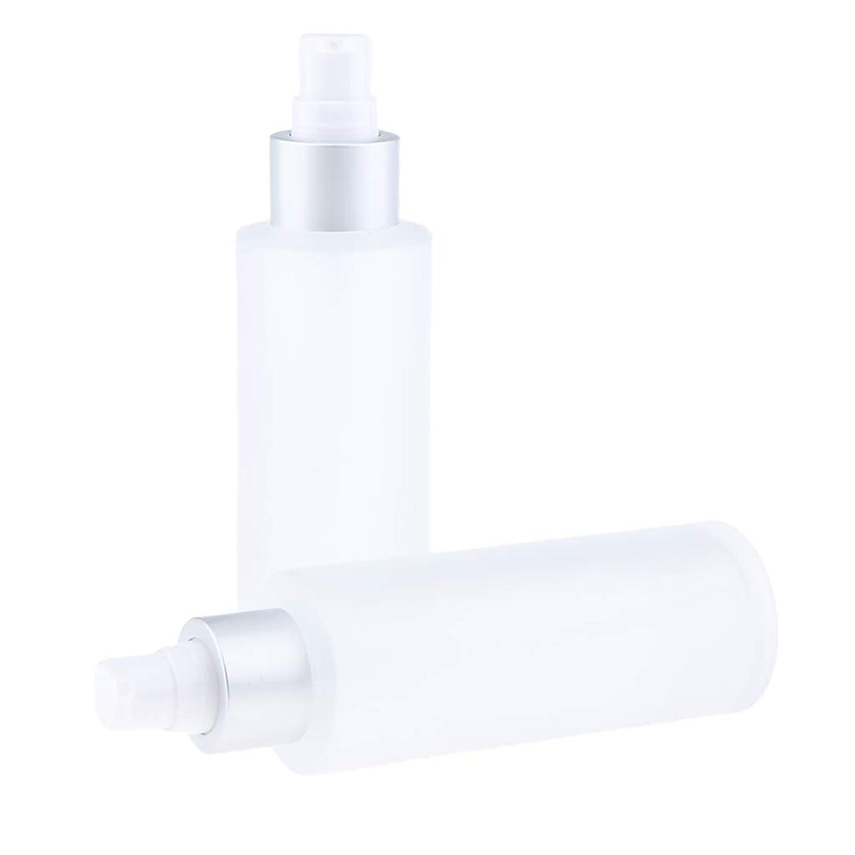 DYNWAVE 空ボトル 化粧品 詰替え容器 メイクアップボトル ガラス 100ミリリットル 2個入り 全2選択 - ポンプボトル