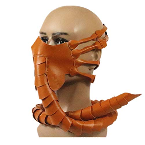YEKKU Latexmaske Facehugger Maske Alien Maske Facehugger Gesichtsschutz Facehugge Halloween Dekoration Requisiten Scary Claws Insect Cosplay Requisiten