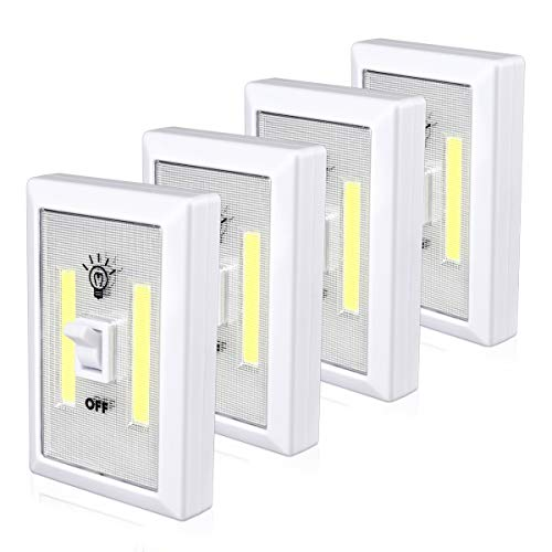 Wardrobe Light, Super Bright, Battery Operated, Stick Anywhere, Night Light for Cupboard, Closet, Shed, Basements(4 Pack)