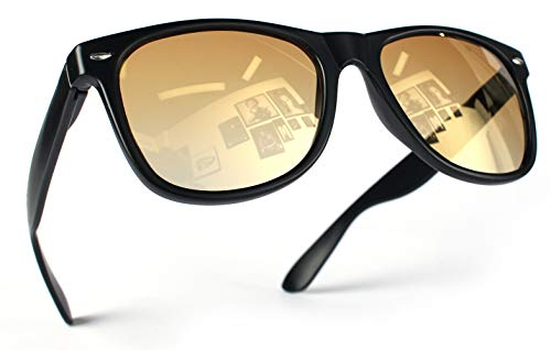 Miobo Hochwertige UV400 CAT 3 CE Nerd Sonnenbrille Retro Vintage, Brille für Damen Herren und Kinder (Damen und Herren, Schwarz Gold)