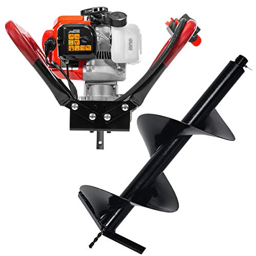 XtremepowerUS 2 Stroke Engine Gas Post Hole Digger Fence Post Plant Auger 55CC Powerhead Motor EPA Digger + 12' inch Bit Kit