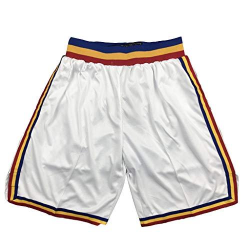 Herren Golden State Warriors Basketball Sport Shorts, Schnelltrocknende und atmungsaktive Outdoor Sports Beach Shorts-Weiß-XL
