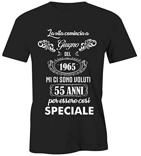 Puzzletee T-Shirt Compleanno Giugno - La Vita Comincia a Giugno del 1965 Mi Ci Sono Voluti 55 Anni per Essere così Speciale - Magliette Simpatiche e Divertenti - Idea Regalo