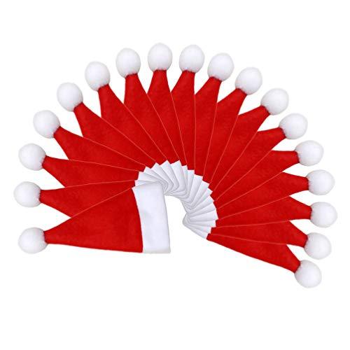 Toyvian 18 pezzi porta posate di natale cappello di natale portabottiglie per vino mini porta cappelli portabicchieri decorazioni per la tavola di Natale