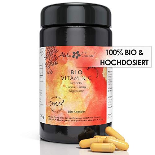 Aloha Sana® | Natürliches BIO Vitamin C hochdosiert im Ultraviolettglass | Veganes Vit C in Kapseln aus Acerola, Camu Camu & Hagebutte | 150 Stück laborgeprüft und made in Germany