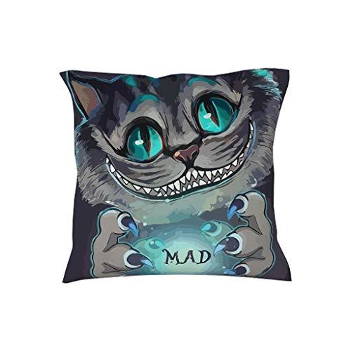 NiTIAN Kussensloop 18 cm * 18 cm Soft Decoratieve vierkante kussenhoezen in polyester weefsel Mad Cheshire Cat - Hema voor bankkussens Wij zijn allemaal gek hier