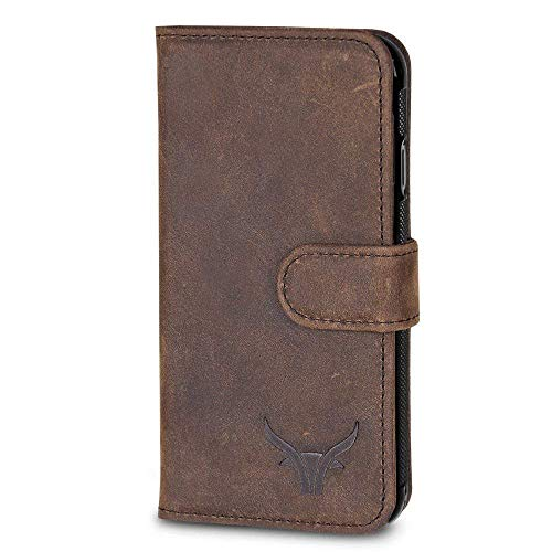 GAZZI iPhone 11, iPhone 11 PRO, iPhone 11 PRO MAX Hülle Leder Case BookCase WalletCase Lederhülle Handyhülle Echt Leder, Rundumschutz, Unzerbrechliche Schale, VINTAGE BRAUN